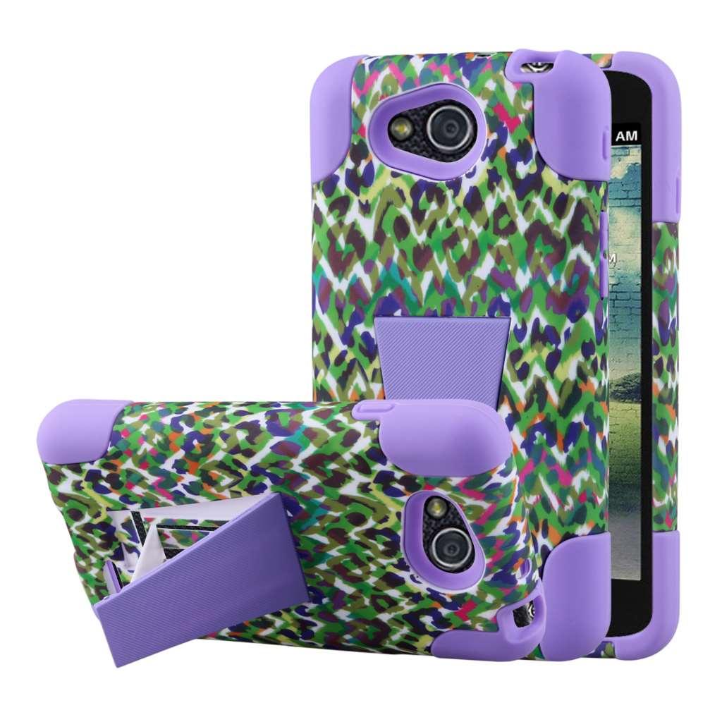 LG Optimus L90 - Purple Rainbow Leopard MPERO IMPACT X - Kickstand Case