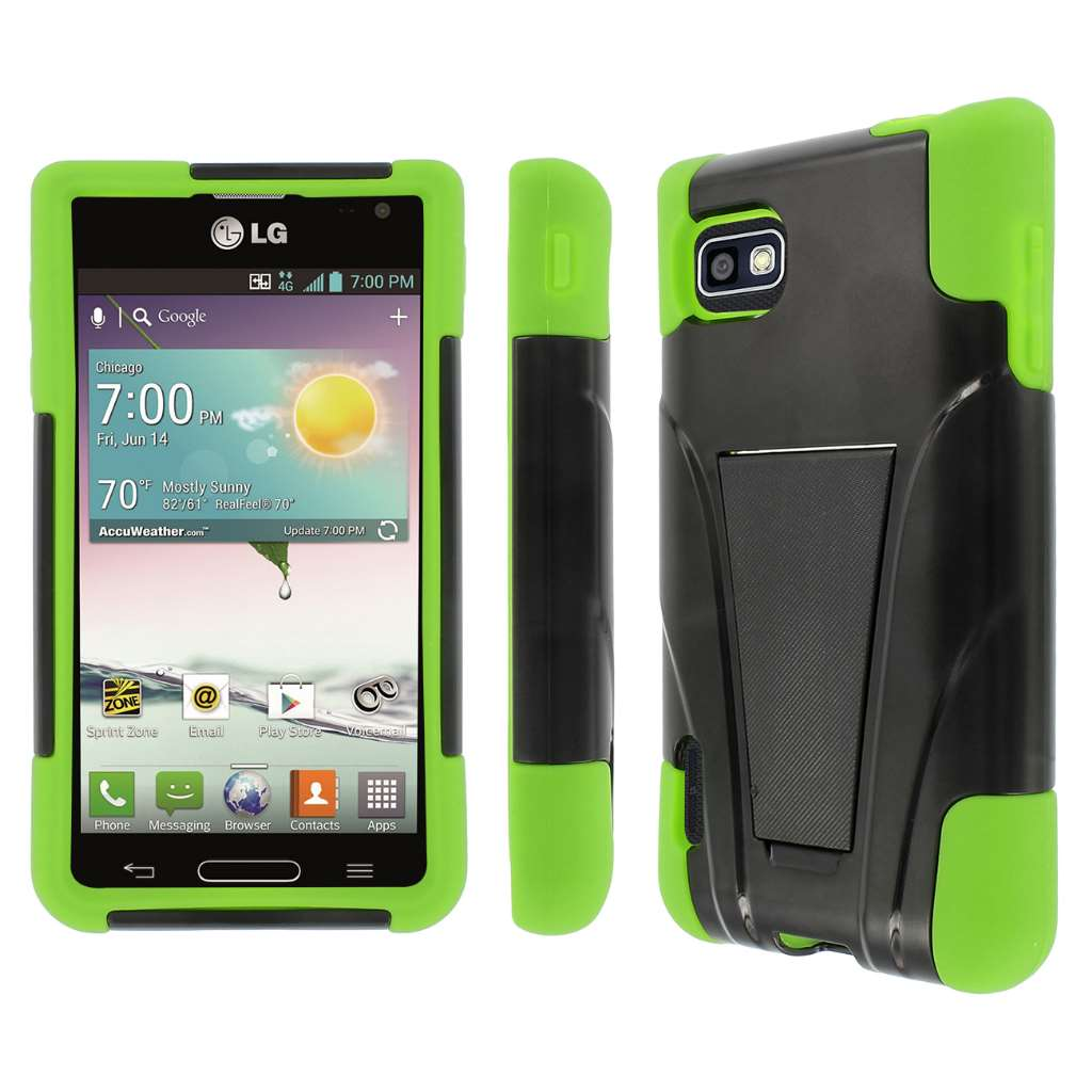 T-Mobile LG Optimus F3- BLACK/NEON GREEN MPERO IMPACT X - Kickstand Case
