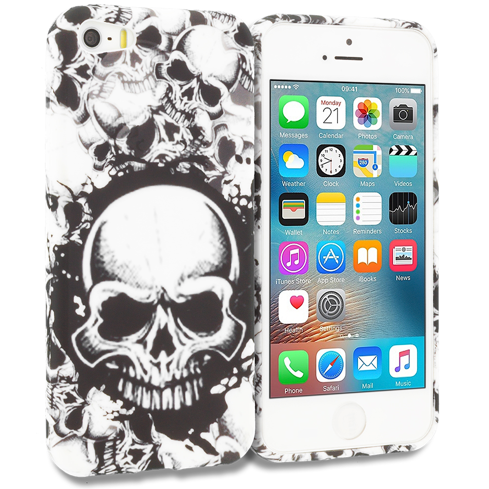 Apple iPhone 5/5S/SE Combo Pack : Black White Skulls TPU Design Soft Rubber Case Cover : Color Black White Skulls