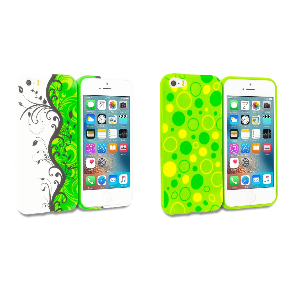 Apple iPhone 5/5S/SE Combo Pack : Green / White Swirl TPU Design Soft Rubber Case Cover
