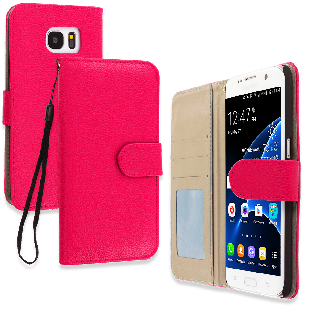 Samsung Galaxy S7 Edge Hot Pink Leather Wallet Pouch Case Cover with Slots