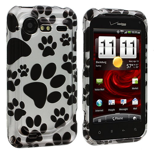 HTC Droid Incredible 2 6350 Dog Paw Design Crystal Hard Case Cover