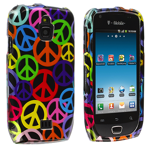 Samsung Exhibit 4G T759 Peace Sign Design Crystal Hard Case Cover