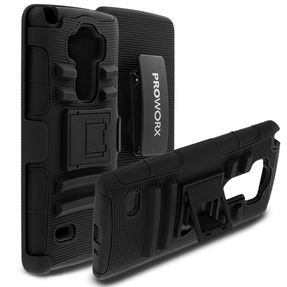 LG G Vista 2 ProWorx Black Heavy Duty Shock Absorption Armor Defender Case Cover With Belt Clip Holster