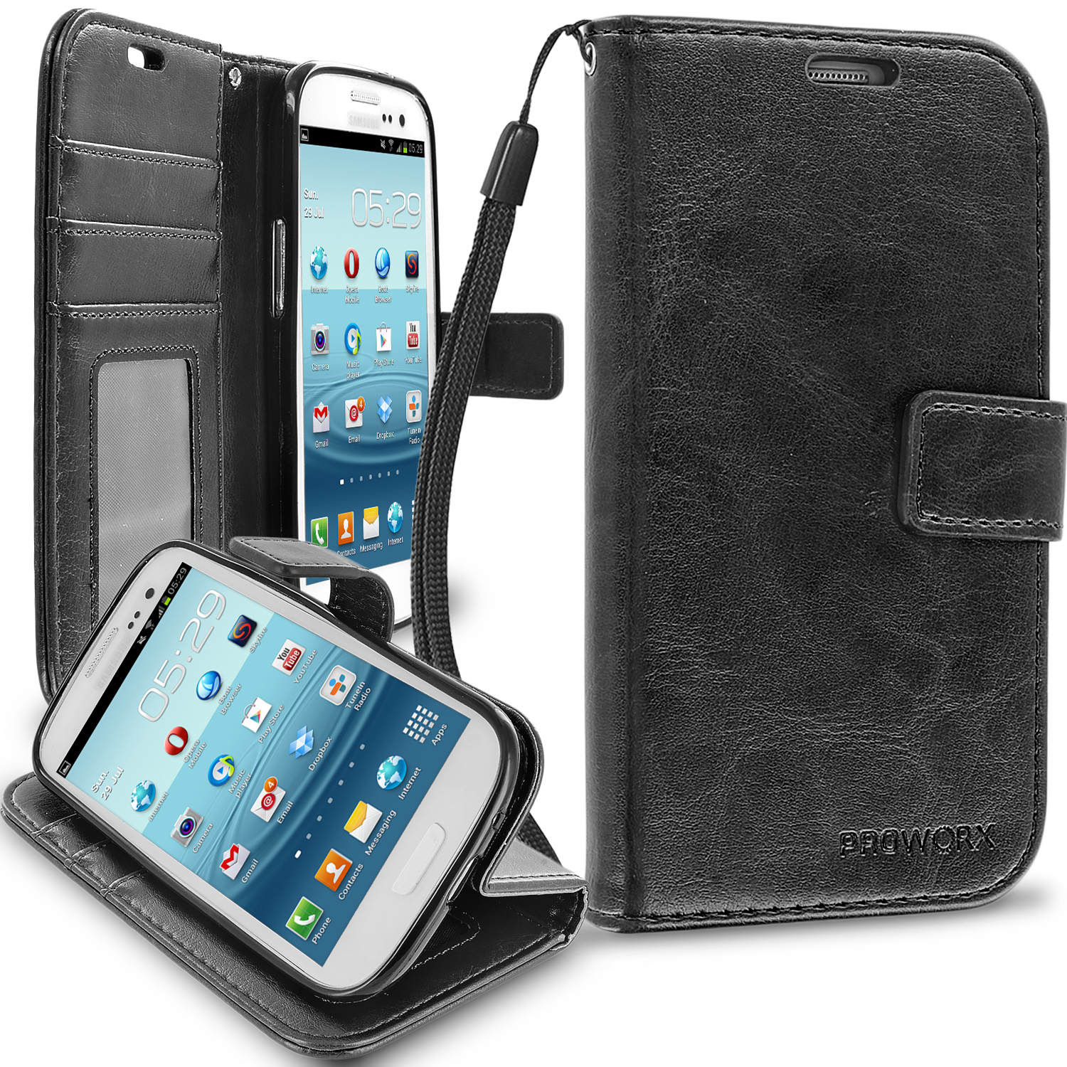 Samsung Galaxy S3 Black ProWorx Wallet Case Luxury PU Leather Case Cover With Card Slots & Stand
