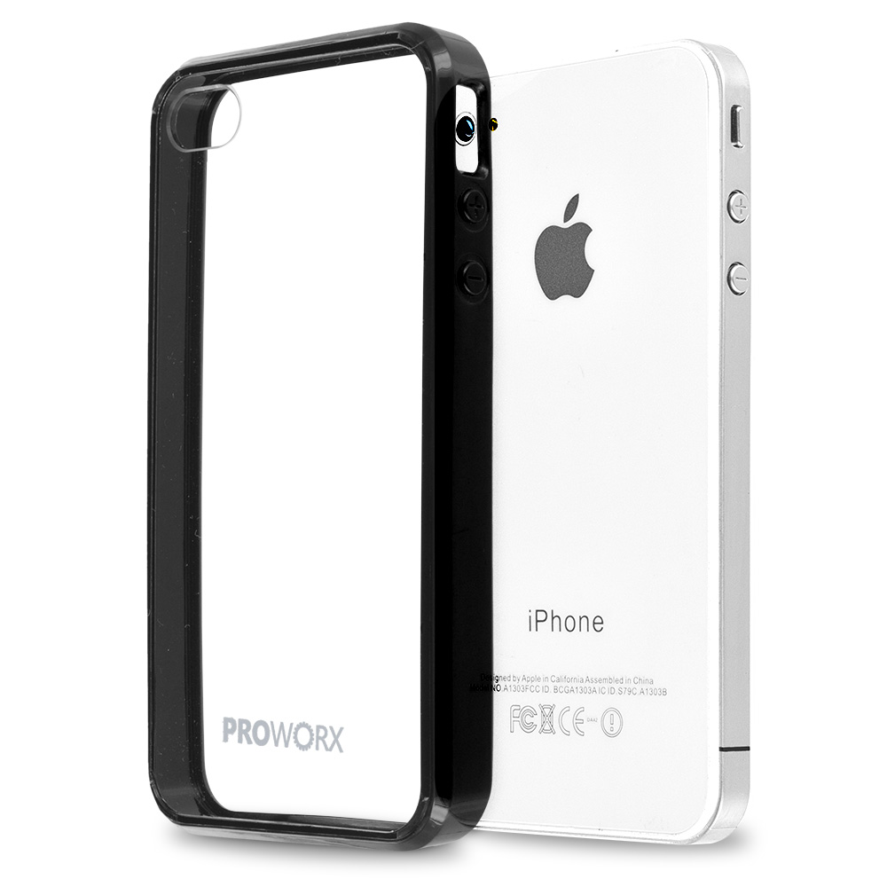 Apple iPhone 4 / 4S Black ProWorx Shock Absorption Case Bumper TPU & Anti-Scratch Clear Back Cover