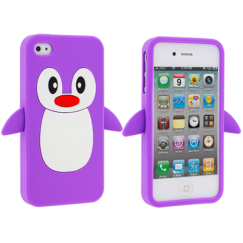 Apple iPhone 4 Purple Penguin Silicone Design Soft Skin Case Cover