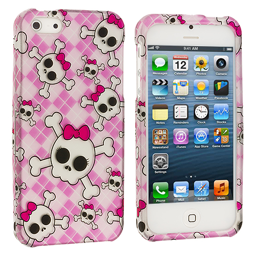 Apple iPhone 5/5S/SE 2 in 1 Combo Bundle Pack - Colorful Skull Pink Hard Rubberized Design Case Cover : Color Cute Skulls