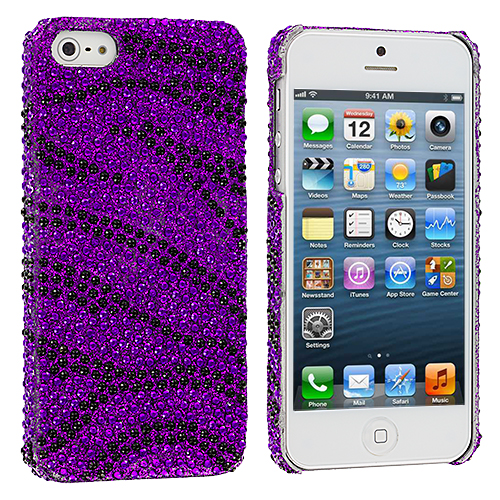 Apple iPhone 5/5S/SE Black / Purple Zebra Bling Rhinestone Case Cover