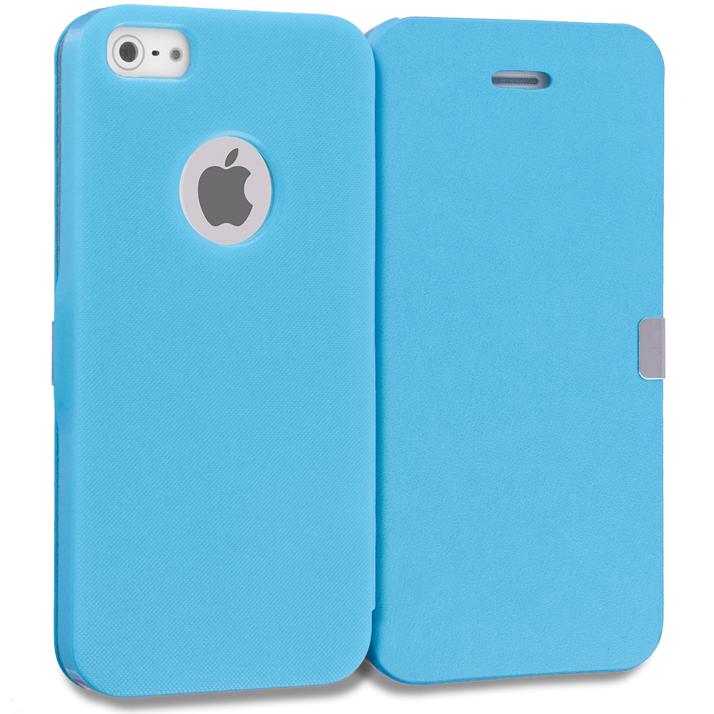 Apple iPhone 5/5S/SE 2 in 1 Combo Bundle Pack - Baby Blue Pink Smooth Magnetic Wallet Case Cover Pouch : Color Baby Blue Smooth