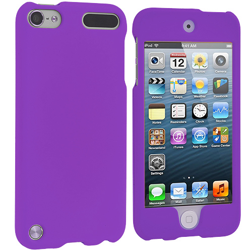 Apple iPod Touch 5th 6th Generation Purple (Covered) Hard Rubberized Case Cover