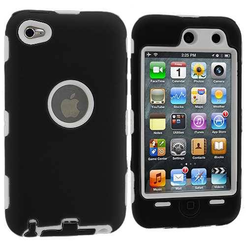 Apple iPod Touch 4th Generation Black / White Deluxe Hybrid Deluxe Hard/Soft Case Cover