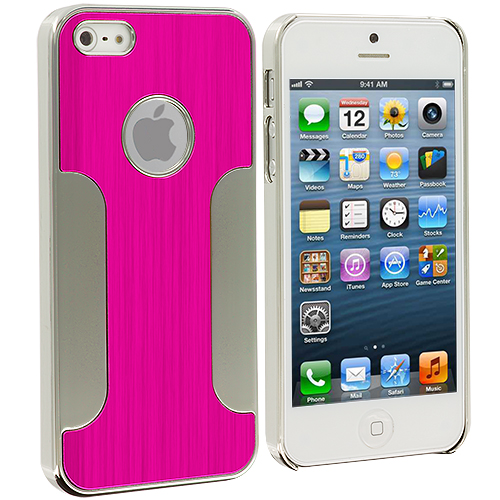 Apple iPhone 5/5S/SE 2 in 1 Combo Bundle Pack - Hot Pink Purple Brushed Metal Aluminum Metal Hard Case Cover : Color Hot Pink Brushed Metal
