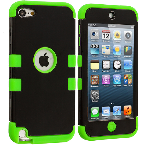 Apple iPod Touch 5th 6th Generation Neon Green / Black Hybrid Tuff Hard/Soft 3-Piece Case Cover