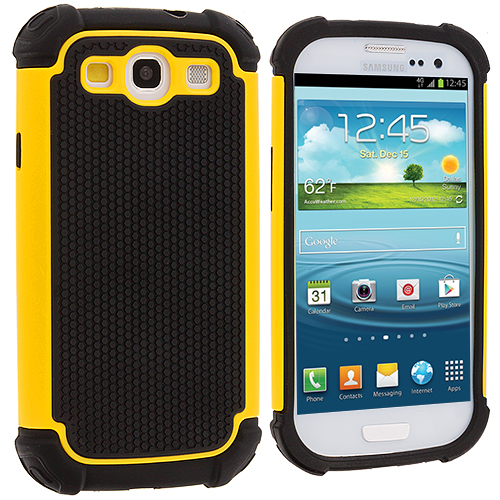 Samsung Galaxy S3 Yellow Hybrid Rugged Hard/Soft Case Cover