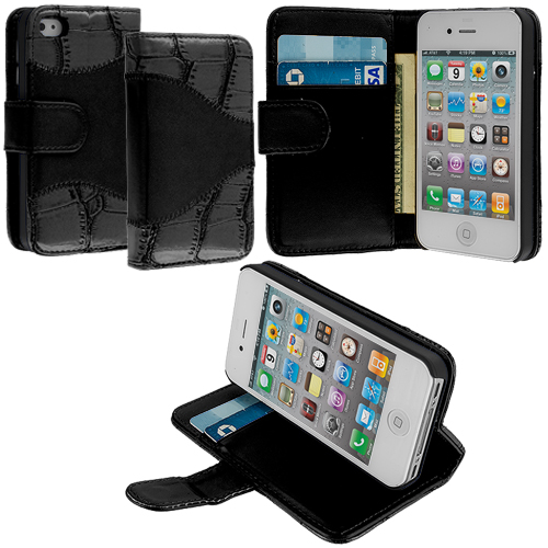 Apple iPhone 4 / 4S Black Crocodile Leather Wallet Pouch Case Cover with Slots