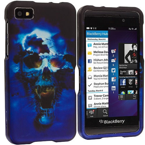 BlackBerry Z10 Blue Skulls Hard Rubberized Design Case Cover