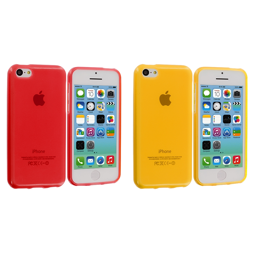 Apple iPhone 5C 2 in 1 Combo Bundle Pack - Red Yellow TPU Rubber Skin Case Cover