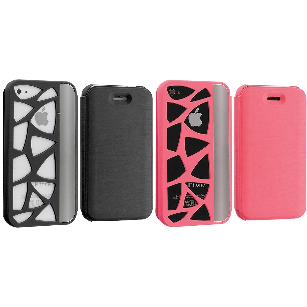 Apple iPhone 4 / 4S 2 in 1 Combo Bundle Pack - Hot Pink Black Carved Out Wallet Case Cover Pouch