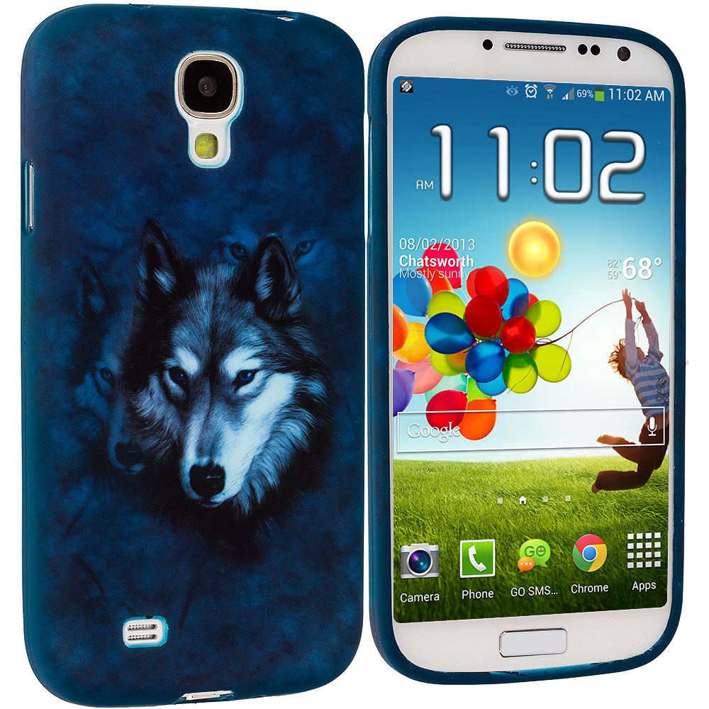 Samsung Galaxy S4 4 in 1 Combo Bundle Pack - Animals TPU Design Soft Case Cover : Color Wolf