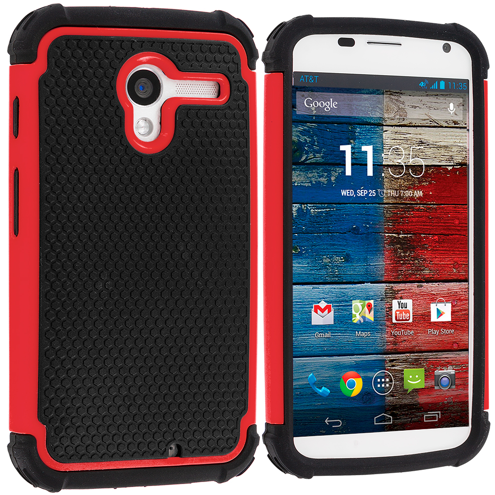 Motorola Moto X Black / Red Hybrid Rugged Hard/Soft Case Cover