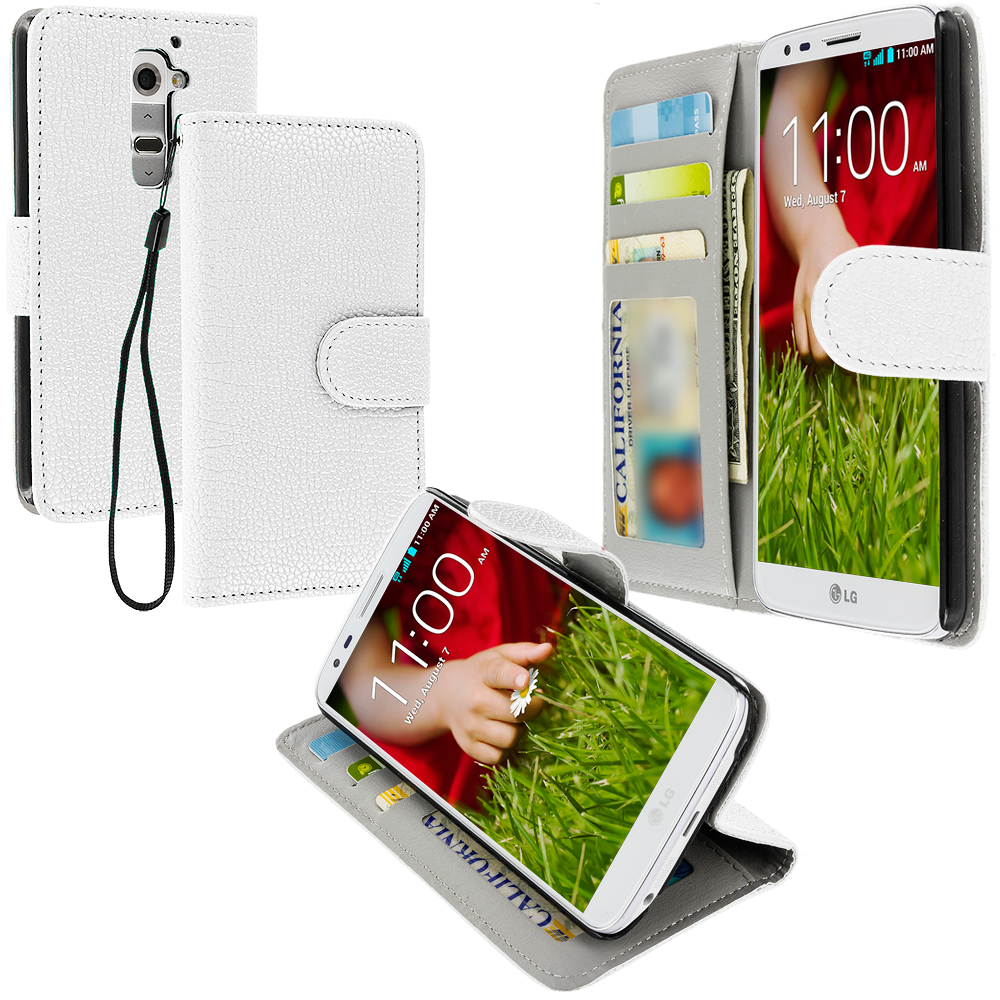 LG G2 Sprint, T-Mobile, At&t White Leather Wallet Pouch Case Cover with Slots