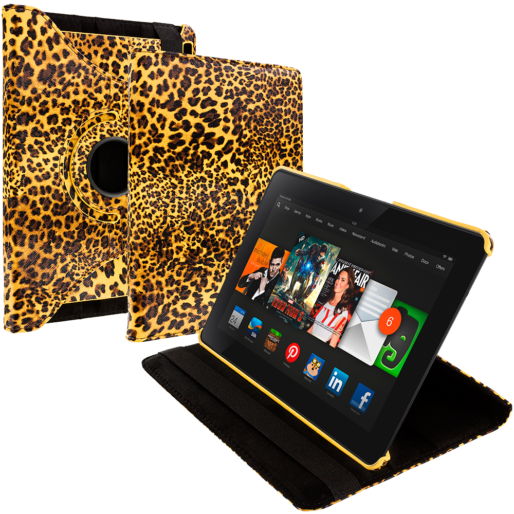 Amazon Kindle Fire HDX 8.9 Yellow Leopard 360 Rotating Leather Pouch Case Cover Stand