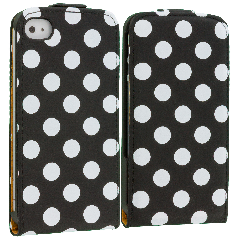 Apple iPhone 4 / 4S Polka Dot Black Wallet Pouch Case Cover