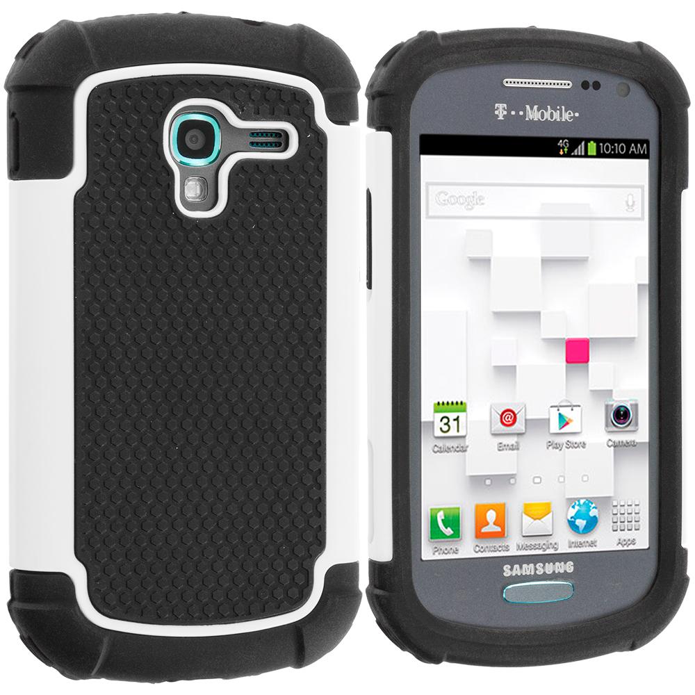Samsung Galaxy Exhibit T599 Black / White Hybrid Rugged Hard/Soft Case Cover