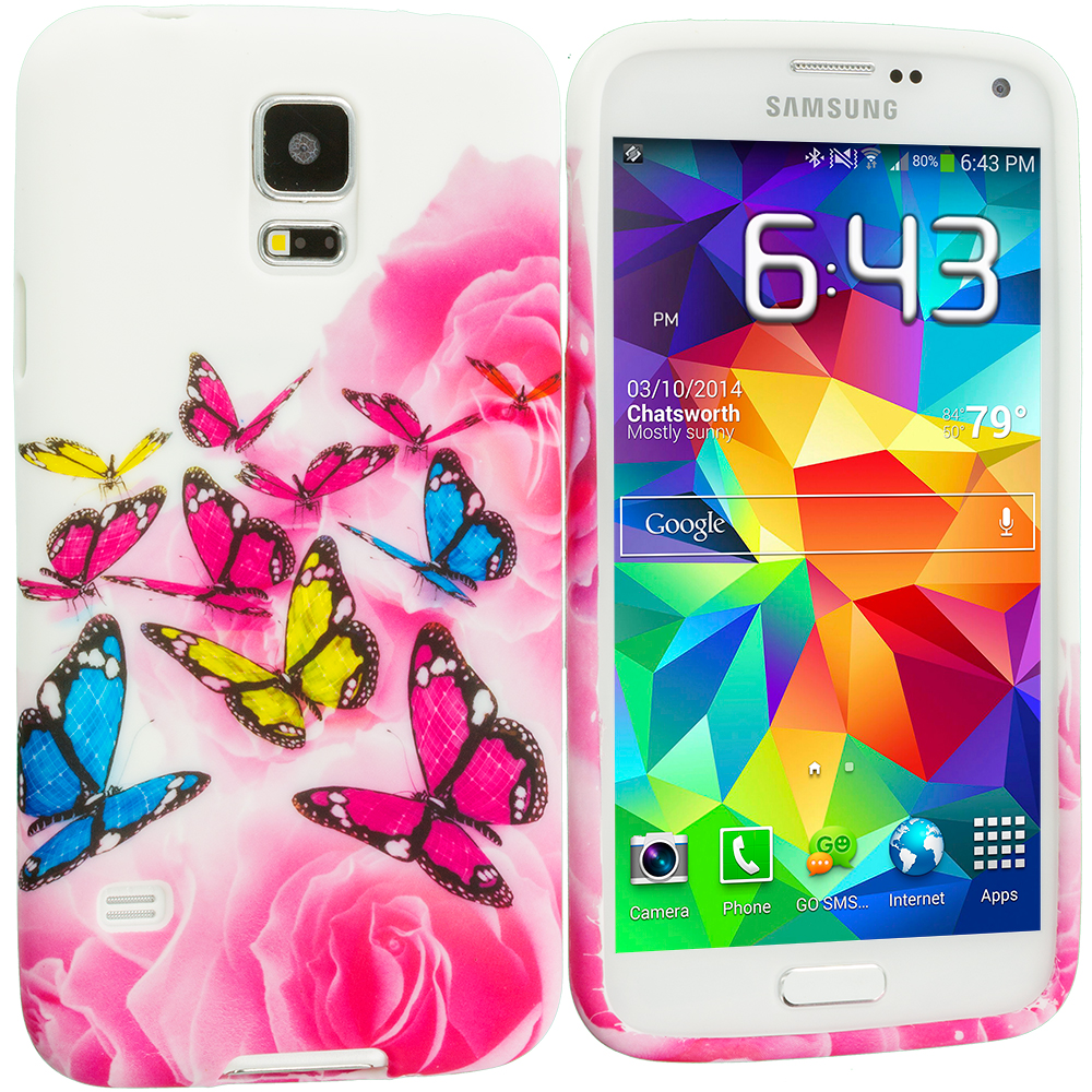 Samsung Galaxy S5 Pink Colorful Butterfly TPU Design Soft Case Cover