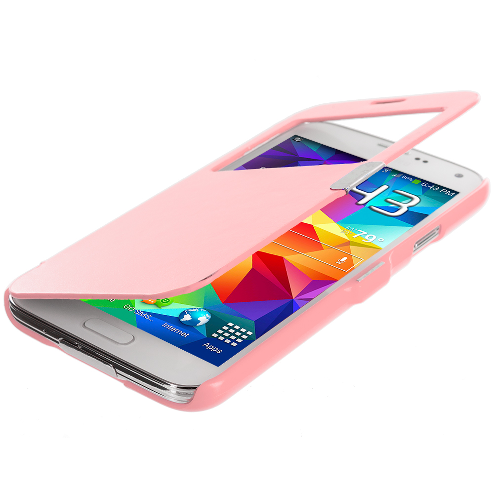 Samsung Galaxy S5 Light Pink (Open Front) Magnetic Wallet Case Cover Pouch