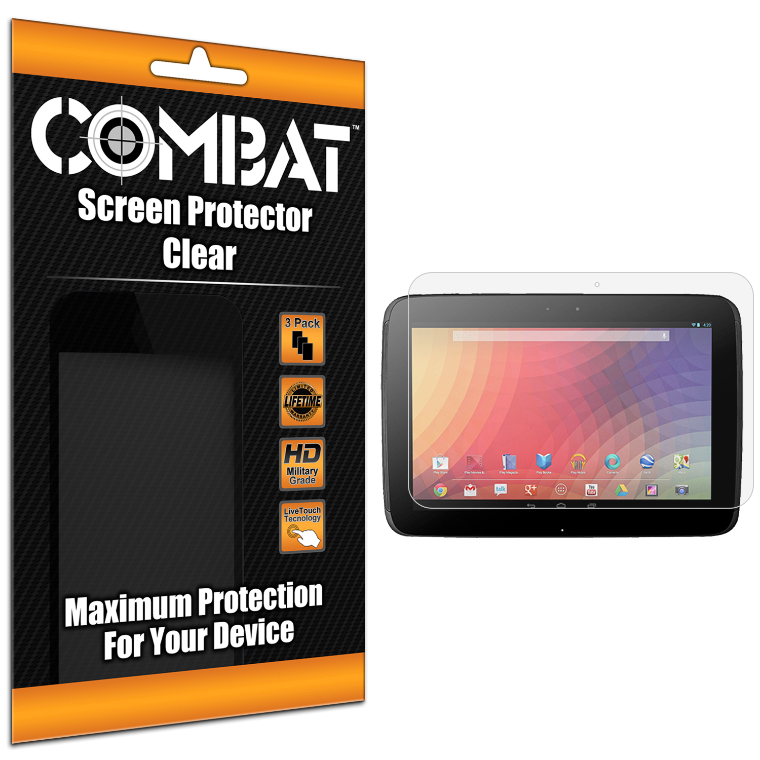 Samsung Google Nexus 10 Combat 3 Pack HD Clear Screen Protector