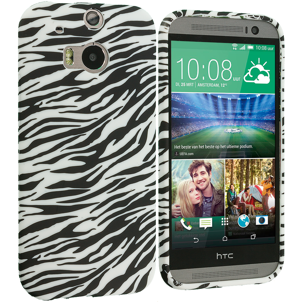 HTC One M8 Black White Zebra TPU Design Soft Case Cover