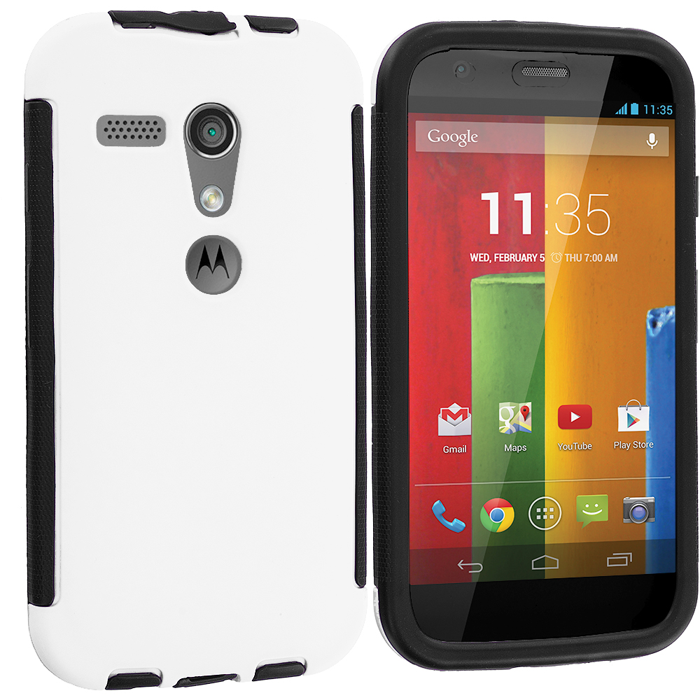 Motorola Moto G Black / White Hybrid Hard TPU Shockproof Case Cover With Built in Screen Protector