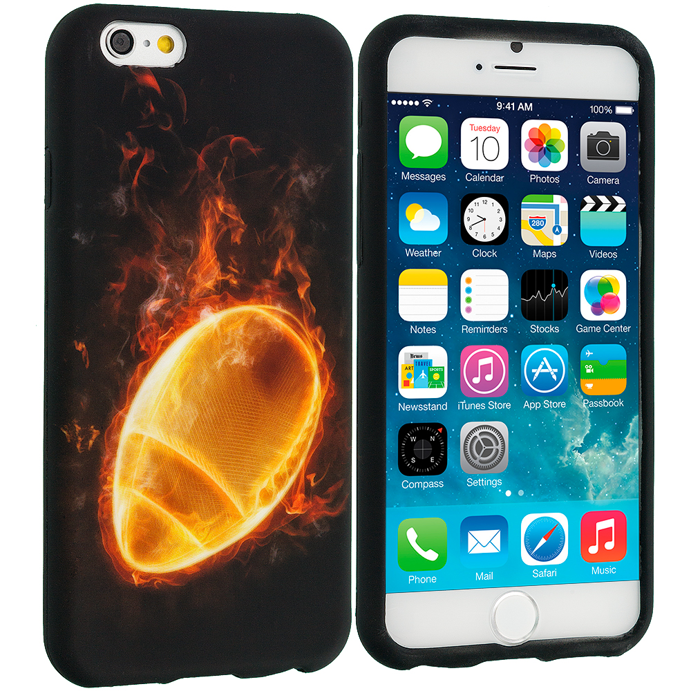 Apple iPhone 6 Plus 6S Plus (5.5) Flaming Football TPU Design Soft Rubber Case Cover