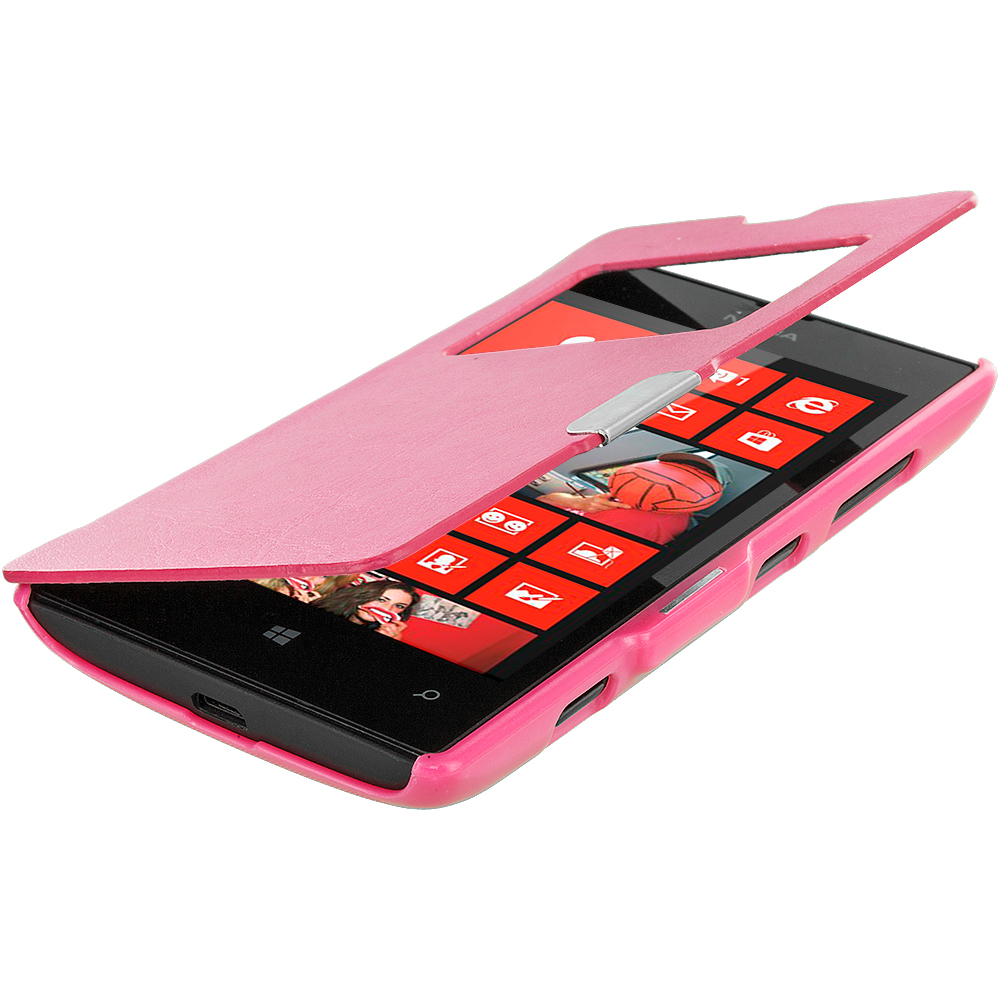 Nokia Lumia 520 Hot Pink (Open) Magnetic Flip Wallet Case Cover Pouch