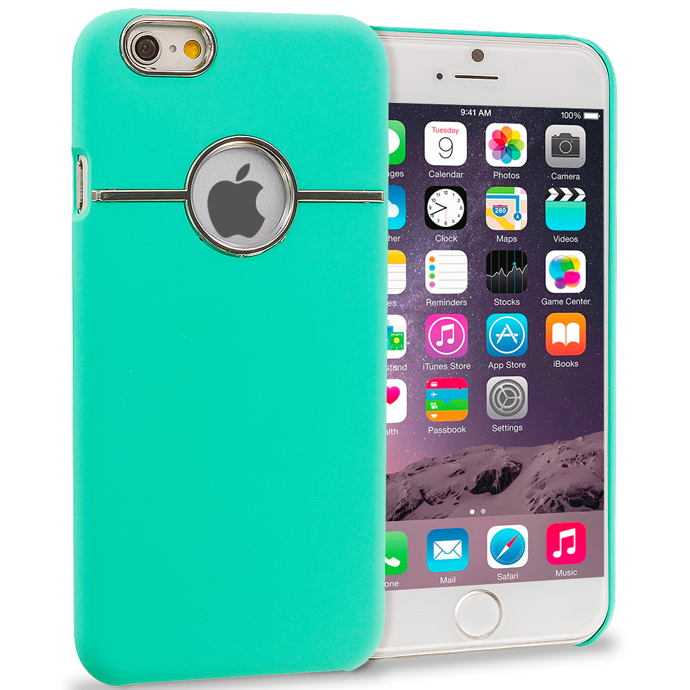 Apple iPhone 6 Plus 6S Plus (5.5) 3 in 1 Combo Bundle Pack - Deluxe Chrome Hard Rubberized Back Cover Case : Color Teal Deluxe Chrome