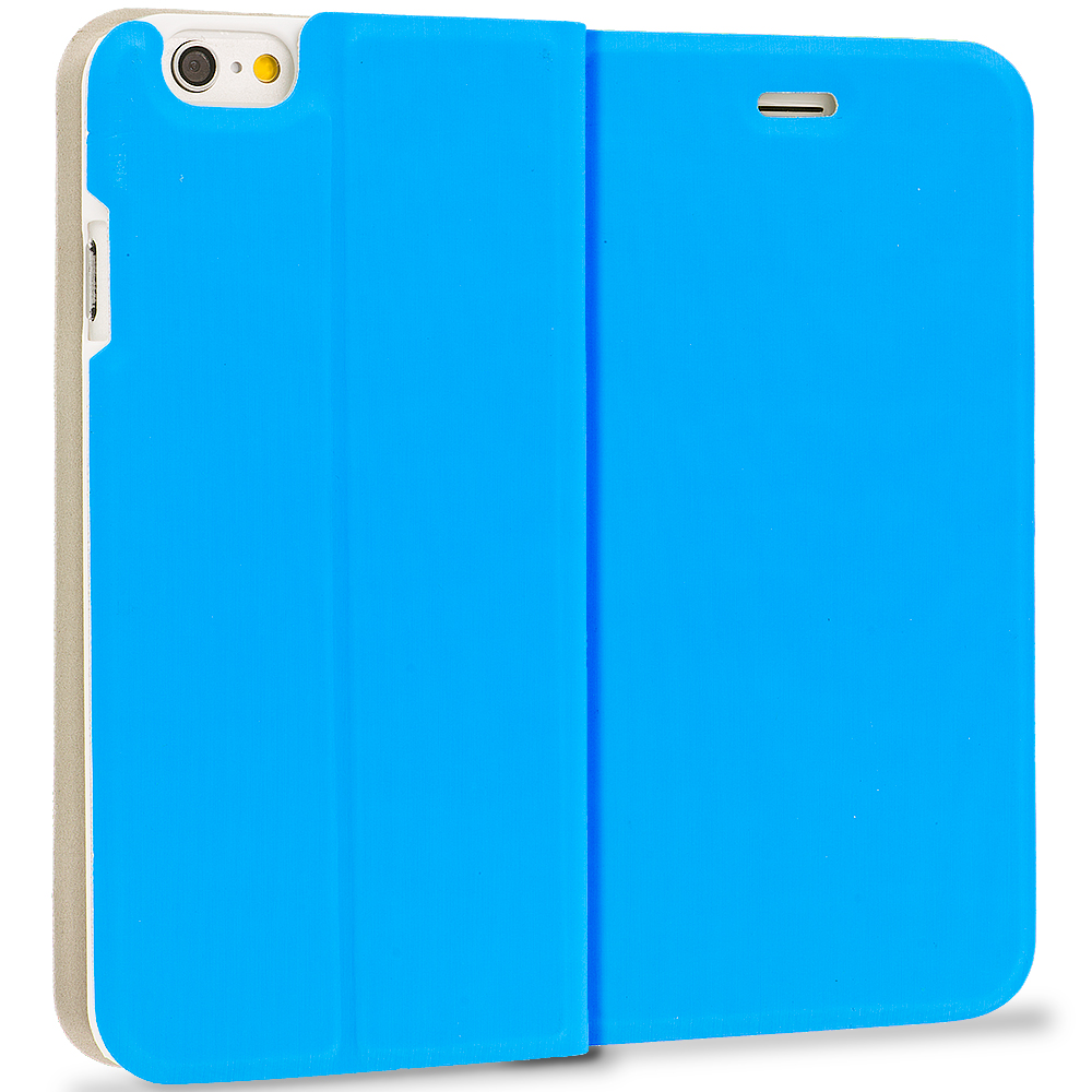 Apple iPhone 6 Plus 6S Plus (5.5) 4 in 1 Combo Bundle Pack - Slim Flip Wallet Case Cover : Color Baby Blue