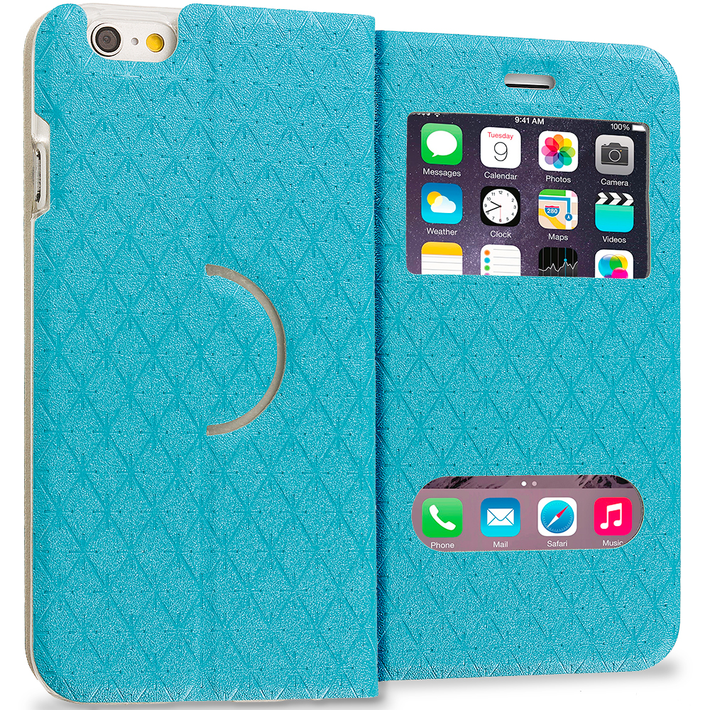 Apple iPhone 6 6S (4.7) Mint Green Slim Hard Wallet Flip Case Cover With Double Window