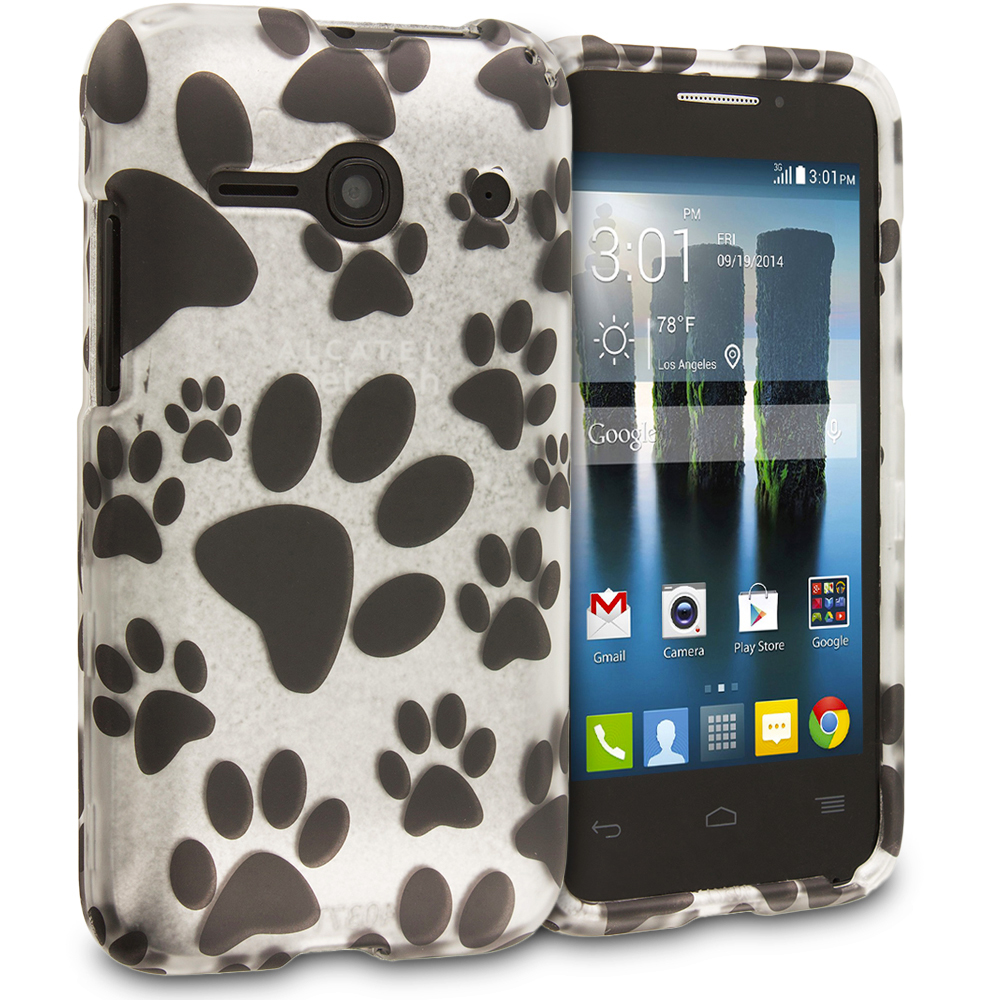 Alcatel One Touch Evolve 2 Dog Paw 2D Hard Rubberized Design Case Cover