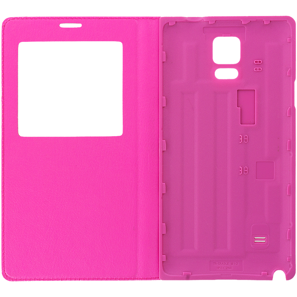 Samsung Galaxy Note 4 Hot Pink Battery Door Rear Replacement Ultra Slim Wallet Flip Case Cover