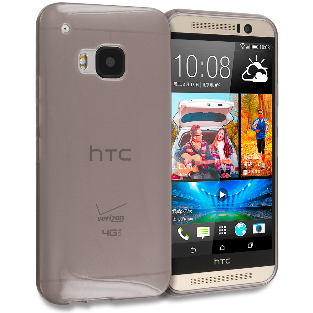 HTC One M9 Smoke TPU Rubber Skin Case Cover