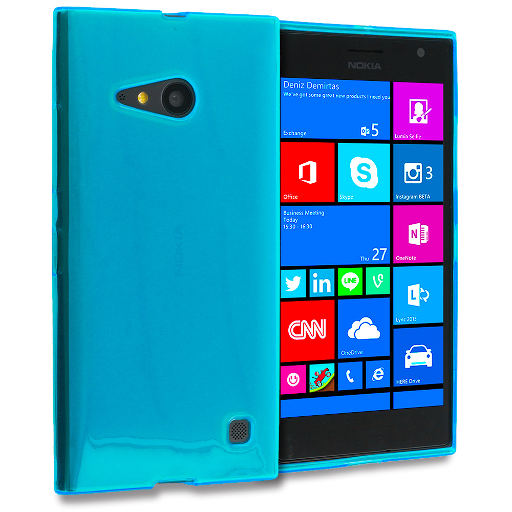 Nokia Lumia 730 735 Baby Blue TPU Rubber Skin Case Cover