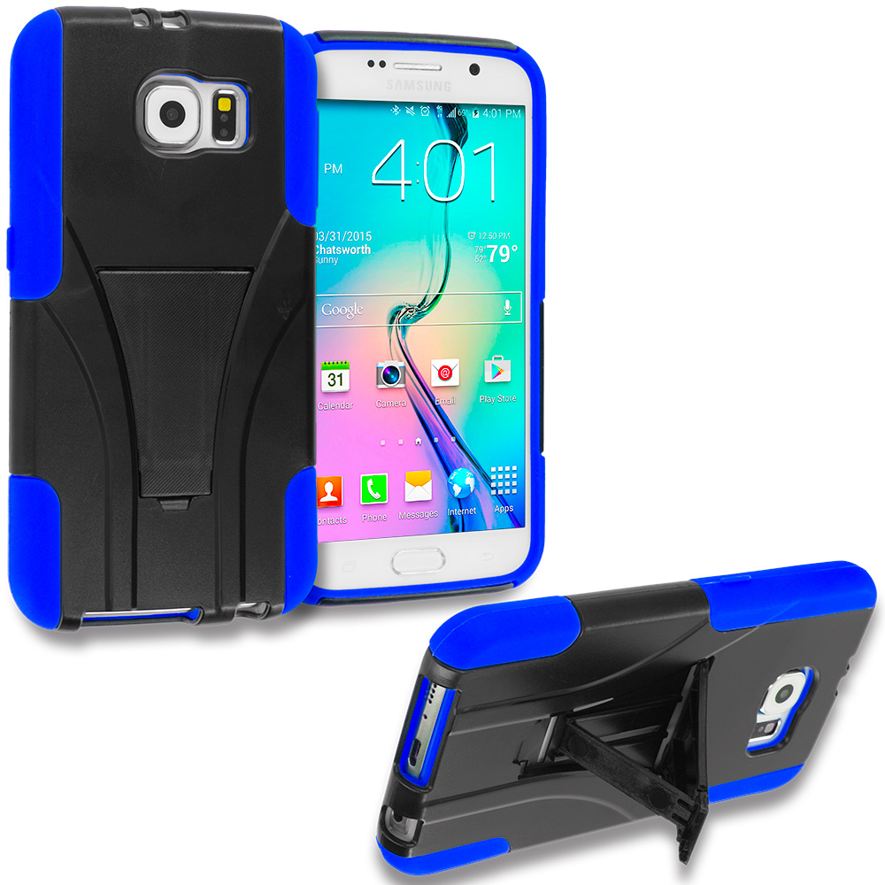 Samsung Galaxy S6 3 in 1 Combo Bundle Pack - Hybrid Hard Soft Shockproof Case Cover with Kickstand : Color Black / Blue