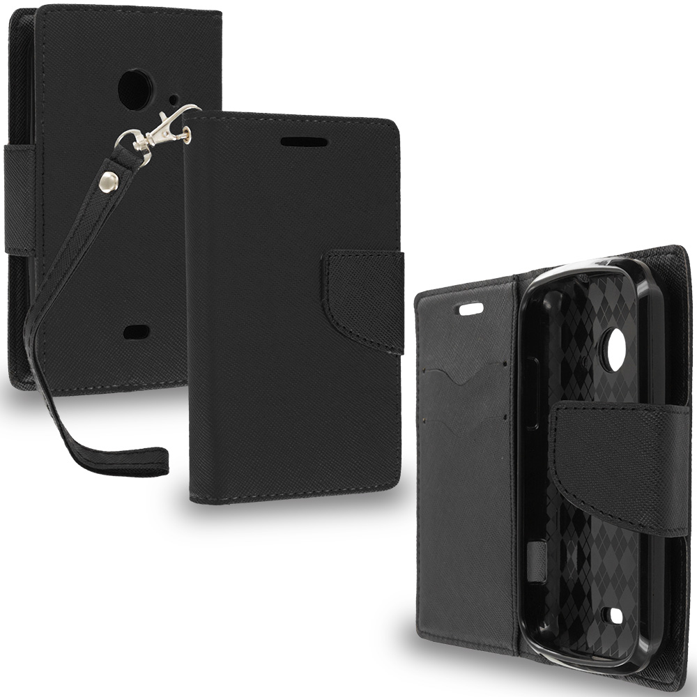 ZTE Zinger Prelude 2 Z667 Black / Black Leather Flip Wallet Pouch TPU Case Cover with ID Card Slots
