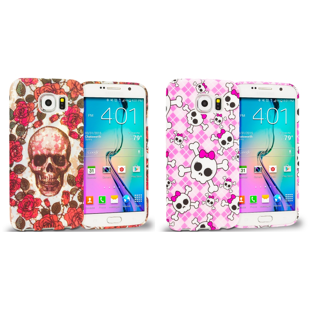 Samsung Galaxy S6 Combo Pack : Gorgeous Skull TPU Design Soft Rubber Case Cover