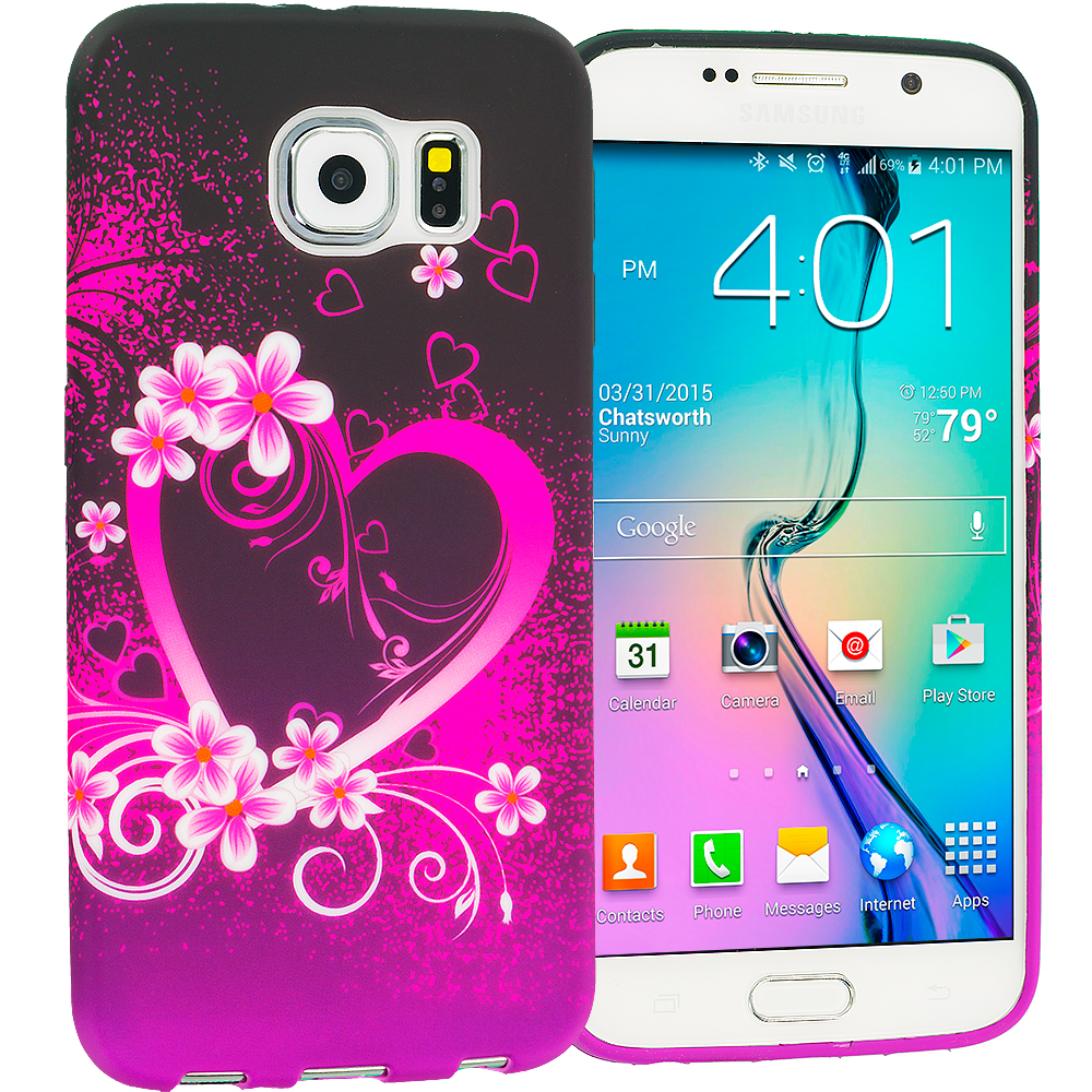 Samsung Galaxy S6 Purple Love TPU Design Soft Rubber Case Cover