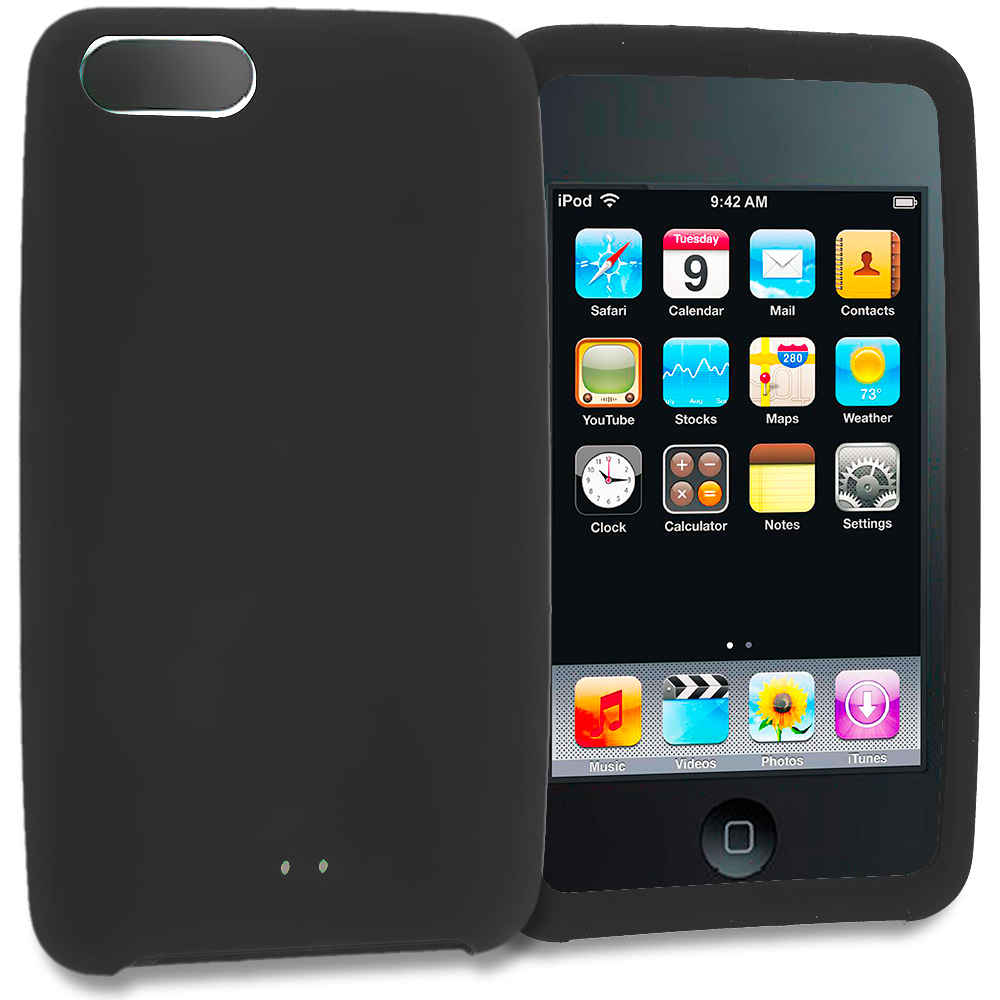 Apple iPod Touch 3rd 2nd Generation Black Silicone Soft Skin Rubber Case Cover