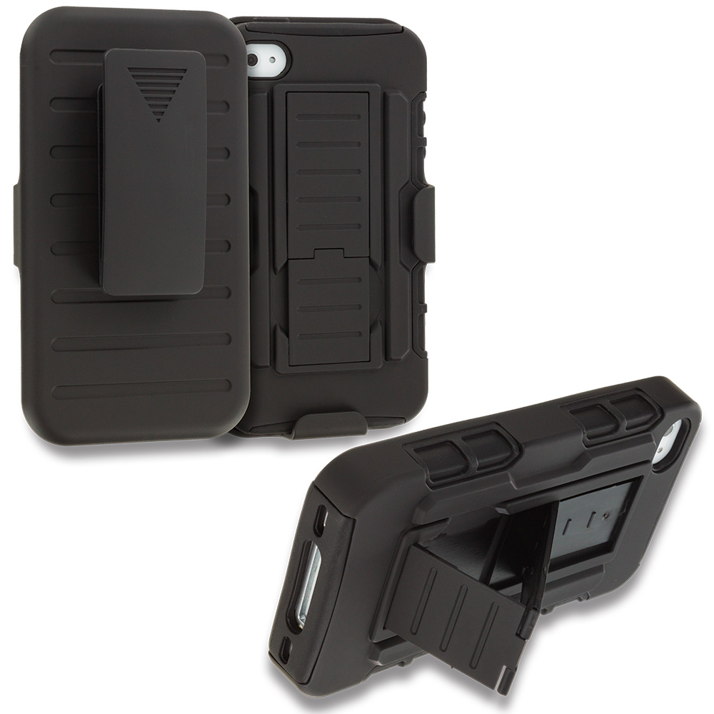 Apple iPhone 4 / 4S Black Hybrid Rugged Robot Armor Heavy Duty Case Cover with Belt Clip Holster