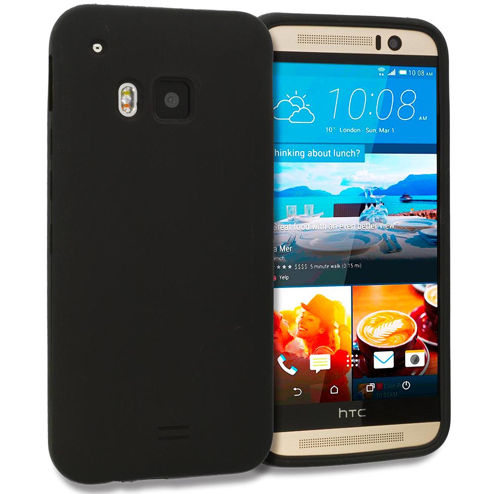 HTC One M9 Black Silicone Soft Skin Rubber Case Cover